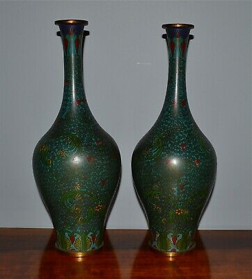 Pair Old or Antique Chinese Cloisonne Vases Scrolling Vines