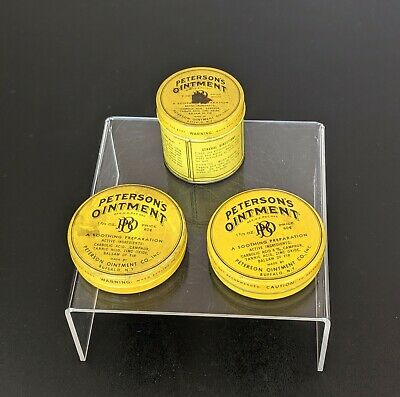 VTG 3 Petersons Ointment Medicine Tins Advertising Decor Empty Buffalo NY