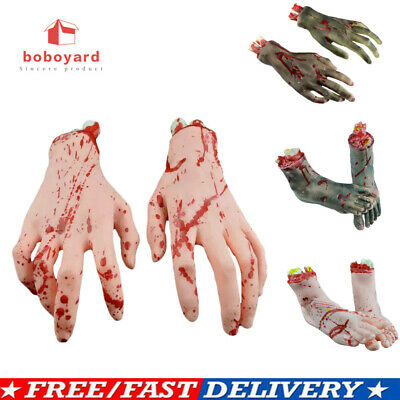 1 Pair Halloween Horror Props Scary Bloody Hand Haunted Terror Party Decoration