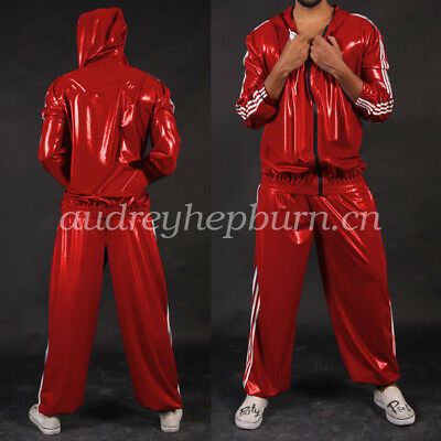 Latex Rubber Gummi Kostüm Men Handsame hooded Jacket And Pants Suit Size S-XXL