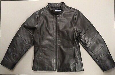 Girls Black Leather Cafe Racer Moto Jacket Size M by The Children's Place EUC