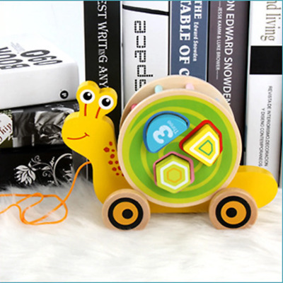 Pull Along Snail EverEart Pull Along - Baby Kids Wooden Educational Pulling Toy