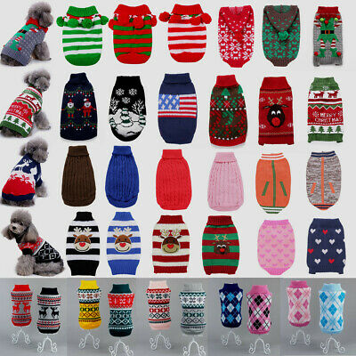 Christmas Pet Puppy Dog Cat Knitted Sweater Jumper Clothes Knitwear Apparel UK