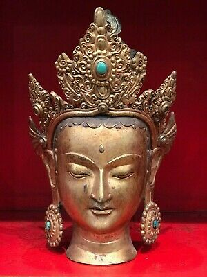 "12"" Antique Hand Crafted Copper Tara Buddha Status with 24K Gold."