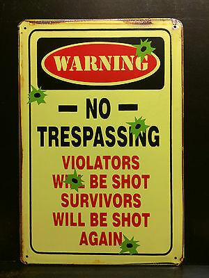 Warning No Trespassing Will Be Shot Vintage-Style Metal Wall Sign  20X30 Cm