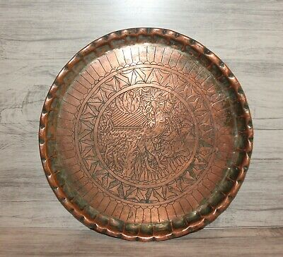 Antique hand made floral engraved copper round serving tray platter