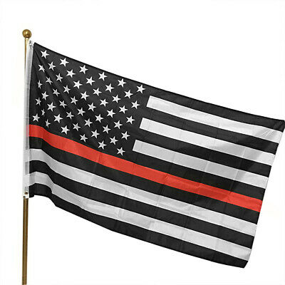 Thin Red Line USA American Flag Firefighters 3x5 Ft Banner Flag Decoration LA1
