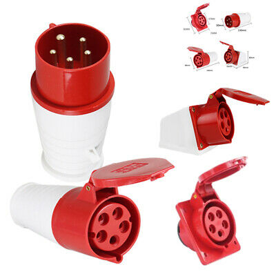 415V 16A 5 Pin Red Industrial Plug or Socket 3 Phase 3P+N+E IP44 Male/Female UK