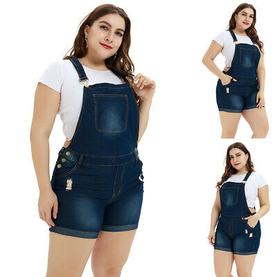 Plus Size Women Jumpsuit Dungarees Bid Pants Ladies Shorts Overall Trousers