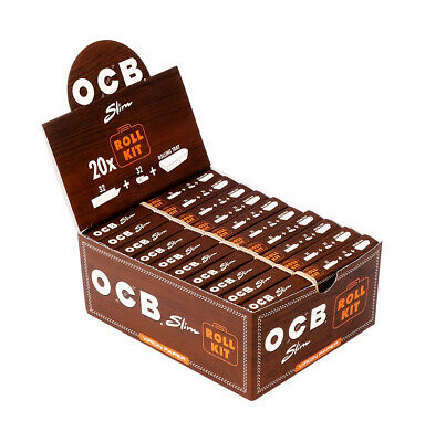 1 Box (20 Heftchen) OCB Slim Roll Kit Virgin Paper, KS Slim Blättchen+Tips+Tray