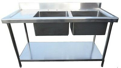 New Commercial Catering Stainless Steel 1500mm Left Drainer Double Bowl Sink