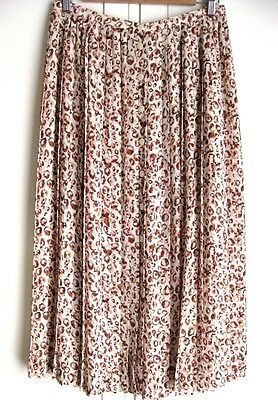 Vintage Sportscraft Cream Brown Red Button Front Animal Print Pleated Skirt M