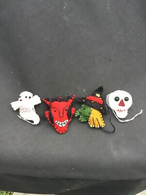 Felted Primitive Style Mini Halloween Ornaments Ghost Devil Witch Skeleton