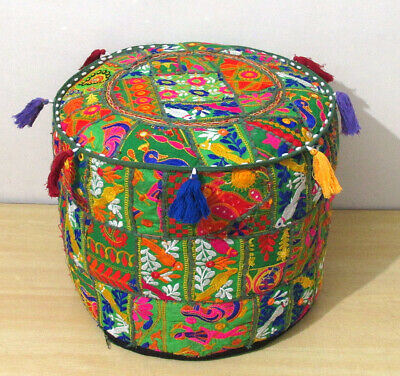 "22"" Green Patchwork Pouf Ottomans Cover Footstool Embroider Mandala Pouf Covers"