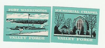 US- Valley Forge x 2 Poster stamps Clean No Gum, Fort Washington & Memorial Chap