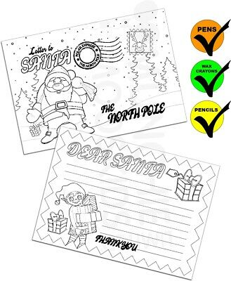 Colour Your Own Letter To Santa Postcards Xmas Christmas Gift Pack Size 1-48