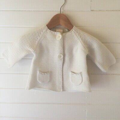 Seed Baby White Knit Cardigan - Size: 00 / 3-6 months (D2559)