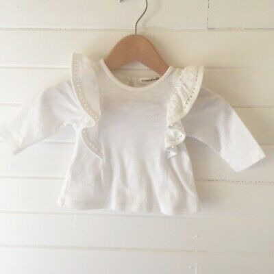 Country Road White Long Sleeved Top - Size: 000 / 0-3 months (D2562)