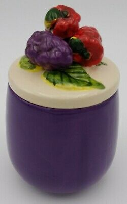 Vintage 1960s Purple Raspbaerry Conserve Jam Jelly Pot Dish Ceramic 3D Fruit Lid