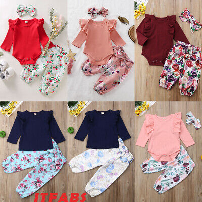 UK Boutique Newborn Baby Girls Flowers Top Romper Skirt Pants Outfits Clothes