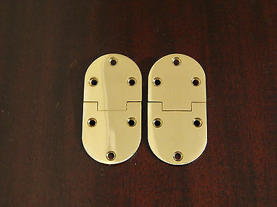 Butler Tray Hinge Round Edge Polished Brass - Pair
