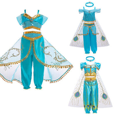 Aladdin Jasmine Princess Dress Halloween Party Costume Girls Sets Kids Cosplay