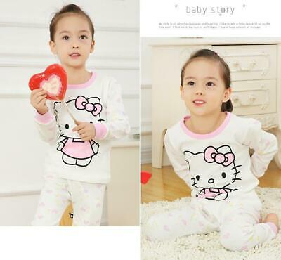 Cute Hello Kitty Girls 2 Piece Cotton Pajamas Sets Kids Sleepwear Set (3T/4T)