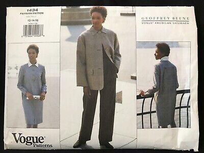 Vogue Pattern 1434 Geoffrey Beene Dress Jacket Pants Sizes 12-16 Uncut FF  NOS