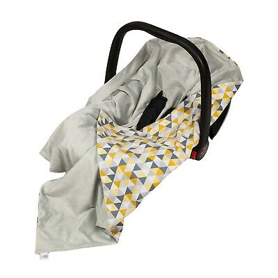 Grey & Yellow Triangles Car Seat Wrap Baby Wrap For Car Seat / Car Seat Blanket