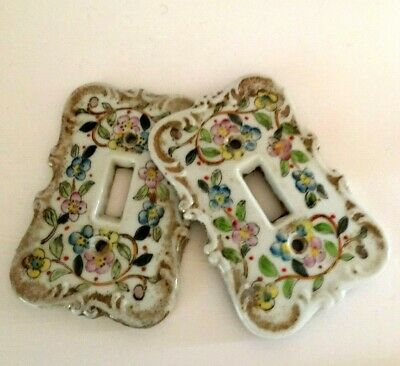 Vintage - Porcelian Switchplate Covers - Handpainted - GoldAccented - LOOK! !
