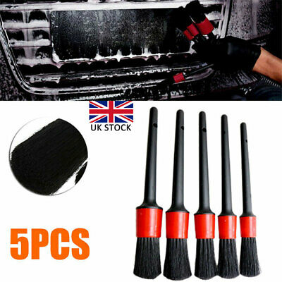 5Pcs Car Detailing Brush Set Detail For Cleaning Wheels Engine Emblems Air Vents