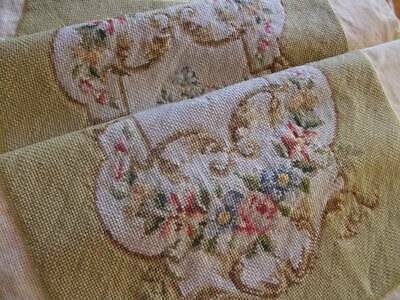 French Vintage Tapestry On Canvas Floral  Design