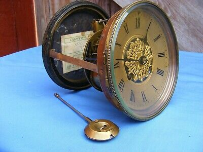 Antique French 2 Train Clock Movement, A.d. Mougin, Dial And Pendulum, Gwo.