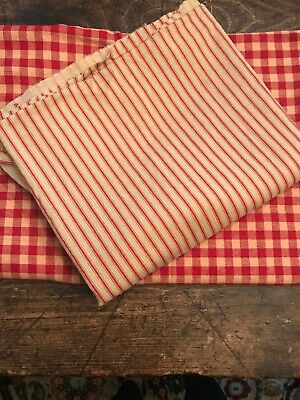 NEW Primitive Style Fabrics Gingham & Ticking Reds Holiday Christmas Crafts