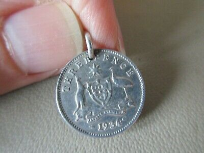 Vintage English Sterling Silver Australia 1934 Threepence Coin Fob Charm Pendant