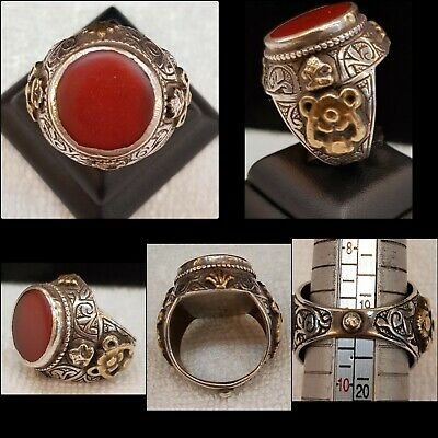 Wonderful Old Silver Ring With Amazing Red Ancient Agate Stone With Gold Plated