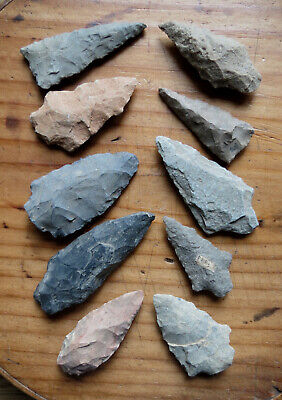 10 Authentic Indian Arrowheads - Lancaster County Pa - Native American