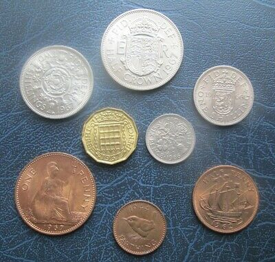 SET OF PREDECIMAL BRITISH COINS Farthing to Half Crown - Old Money (myref3)