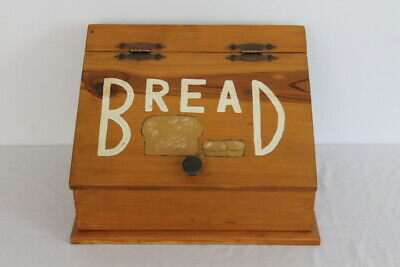 Vintage Wooden Bread Box Wood Lid Primitive Rustic Country Kitchen Countertop