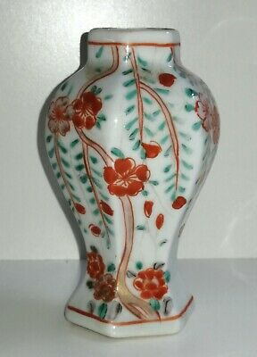 Rare C19th Chinese Porcelain Hand Painted Hexagonal Miniature Vase - NO RESERVE