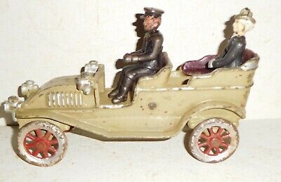DENT 1920s style OPEN TOURING CAR with cast iron passengers - antique toy
