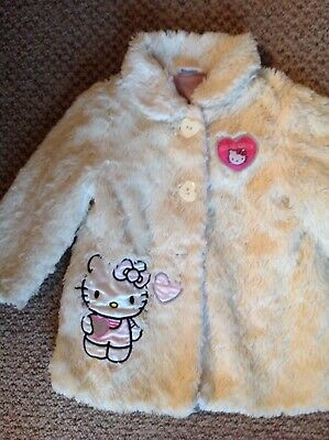 Hello Kitty baby girls cream faux fur coat Age 12-18 months