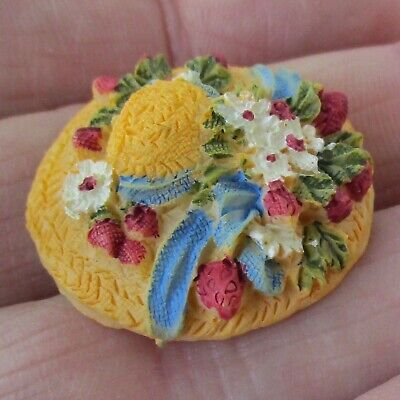 "Beautiful 1"" Plaster of Paris Flower Hat Button w Backmark"