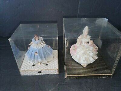 2 Antique Dresden ? Woman Girl Sitting Chair Figurine Porcelain Lace German Box