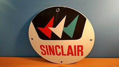 Vintage Sinclair Gasoline Porcelain Metal -Before Dino- Service Pump Plate Sign
