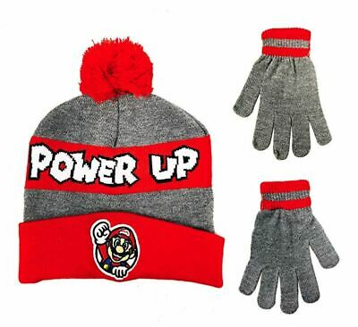Nintendo Super Mario Boys Kids Winter Hat and Gloves Cold Weather Set, Grey/Red