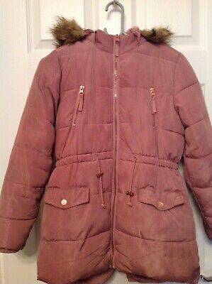 Matalan girls pink padded coat parka age 11 years