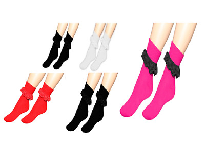 3/6 Girls Black Pink White Frilly Ankle Lace Socks Ladies 4-6 Fancy Party Dance