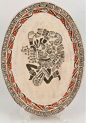 Authentic Mexican Pre-Colombian Ceramic Hanging Plate Handmade Folk Art Signed