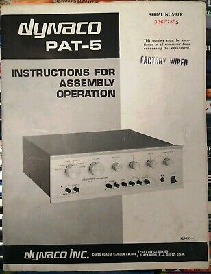 Dynaco PAT-5 Preamplifier Instructions For Assembly & Operation Vintage Manual